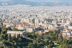 Temple of Thissio and Athens, Greece Stock Photos