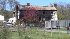 Historic farmhouse fire damaged medium shot Stock Footage