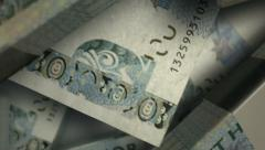Swedish kronor notes scattered pile pan above Stock Footage