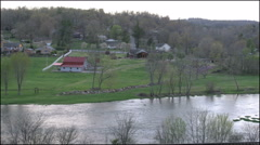 Arkansas Spring River and farm land - stock footage
