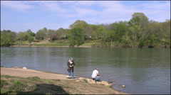 Arkansas river with fishermen - stock footage