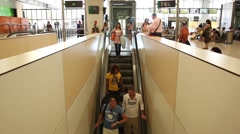 Time lapse people using escalator, timelapse crowd Stock Footage