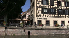 Pan shot in petite france in Strasbourg - stock footage