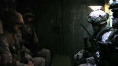 U.S. Marines riding in Tank - stock footage