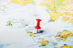Leros islands  greece  map Stock Photos