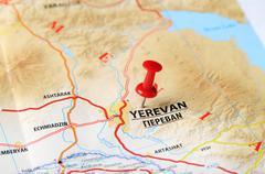 yerevan ,armenia  map - stock photo