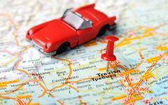 treviso  italy map car - stock photo