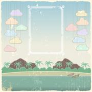 Vintage seaside view poster template. Vector - stock illustration