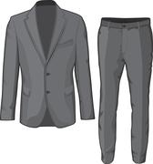 Male clothing suit coat and pants. Vector Stock Illustration