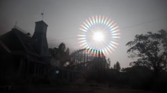Sunlight halo at abandoned theme park. 0568 Stock Footage