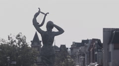 Statue with harp at abandoned theme park. 0570 Stock Footage