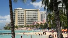 Waikiki beach, honolulu, oahu, hawaii Stock Footage