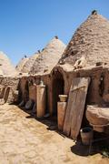 traditional beehive mud brick houses - stock photo