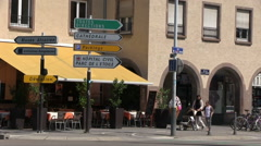 France - Alsace - Streetsign in Strasbourg Stock Footage