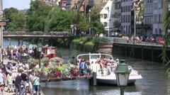 France - Strasbourg - tourism boat Stock Footage