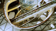 Modern interior. people person customers. escalator staircases stairways stairs Stock Footage