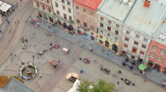 View of the area of ​​the old European town with the town hall Stock Footage