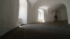 View of the inside of the Roundtower in Copenhagen Stock Footage