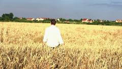 Young man walking through wheat field HD - stock footage