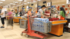 at the shopping market store place grocery timelapse,cash registers in the store - stock footage