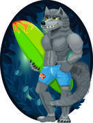 Cartoon illustration of a handsome, muscular werewolf surfer at night Stock Illustration