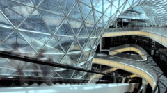 Customers in shopping center. escalator staircases stairways stairs. shopping Stock Footage