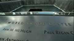 1 World Trade Center 911 Memorial Museum Waterfall Names Freedom Tower Stock Footage