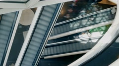 People person crowd customers. escalator staircases stairways stairs. shopping Stock Footage