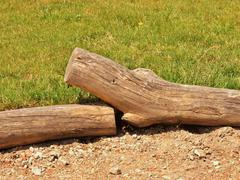Old wooden palisade made from natural trunks, old wooden stockade Stock Photos