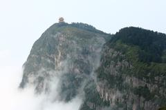 Beautiful Chinese pagoda and cloudy sea on Emei mountain Stock Photos