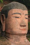 Close up of the head of Leshan Giant Buddha Stock Photos