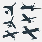 A group of planes in all different angles. Stock Illustration