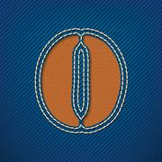 number 0 made from leather on jeans background - stock illustration