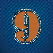 number 9 made from leather on jeans background - stock illustration