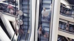 People on escalator. staircases stairways stairs. commuters Stock Footage