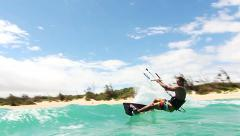 Stock Video Footage of Man Kitesurfing In Ocean Extreme Sport