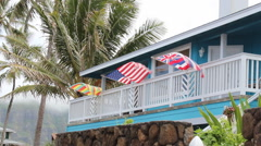 Hawaii and American Flags Flying on House on Oahu Stock Footage