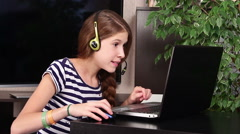 Girl with laptop Stock Footage