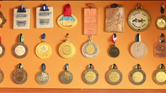 Athlete medal collection - stock footage