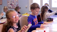 Children Studying Letters In Class, Pan Stock Footage