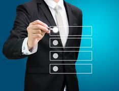 Businessman checking mark checklist marker isolated Stock Photos