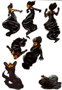 character set - black haired man - stock illustration