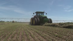 John Deere Tractor Bailing Close Set Shot Stock Footage