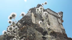 Low Angle shot Crumbling House in Remote Eastern Village - Kayaköy in Turkey. Stock Footage