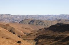 View of the atlas mountain range in south-west morocco Stock Photos