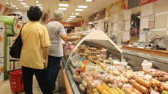 market store place grocery ,at the cashier - stock footage