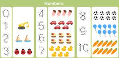 counting and writing numbers to 10 for kids - stock illustration