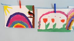 Child Paintings In Classroom - stock footage