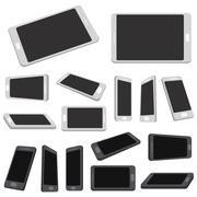 Multiple view Mobile Devices. Set of mobile with blank screen isolated on white. Stock Illustration