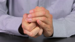 4K Stressed Anxious Hands Businessman Stock Footage